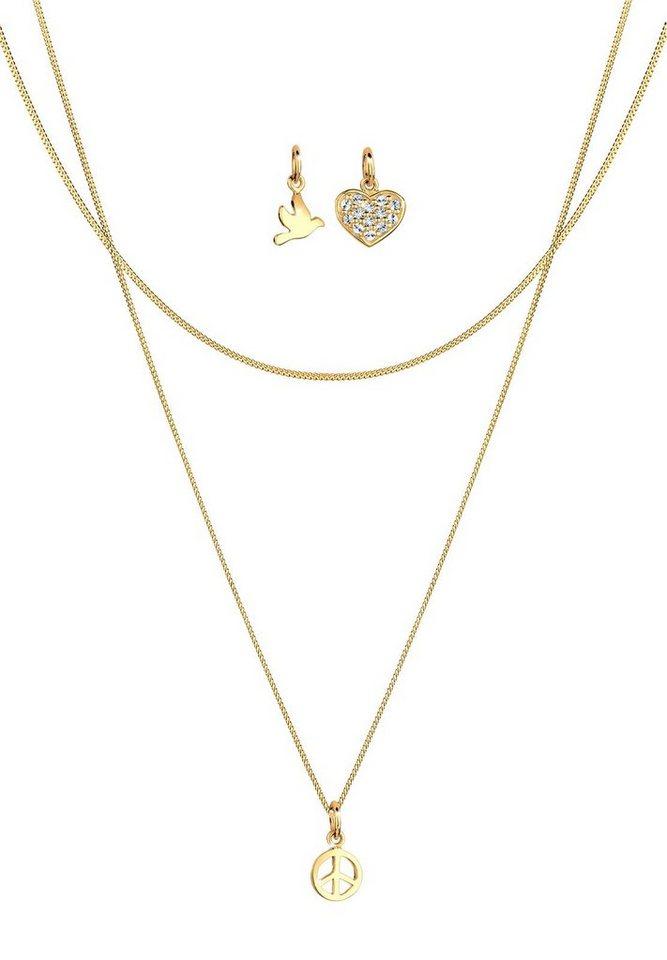 Elli Set: Halskette »Peace Herz Taube 925 Sterling Silber vergoldet« 3 tlg. in Weiß
