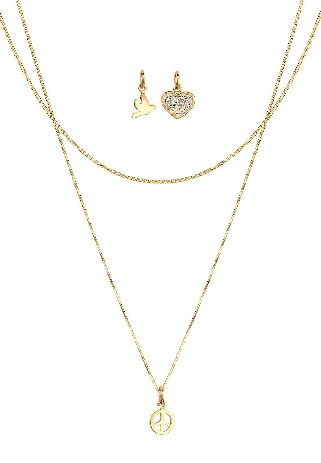 Elli Set: Halskette »Peace Herz Taube 925 Sterling Silber vergoldet« 3 tlg.