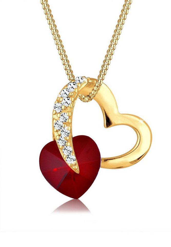 Goldhimmel Halskette »Herz Swarovski Kristalle 925 Sterling Silber« in Dunkelrot