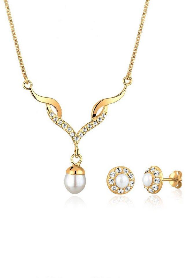 Goldhimmel Set: Schmuckset »Süßwasserzuchtperle Swarovski Kristalle 925 Silber« 2 tlg. in Gold