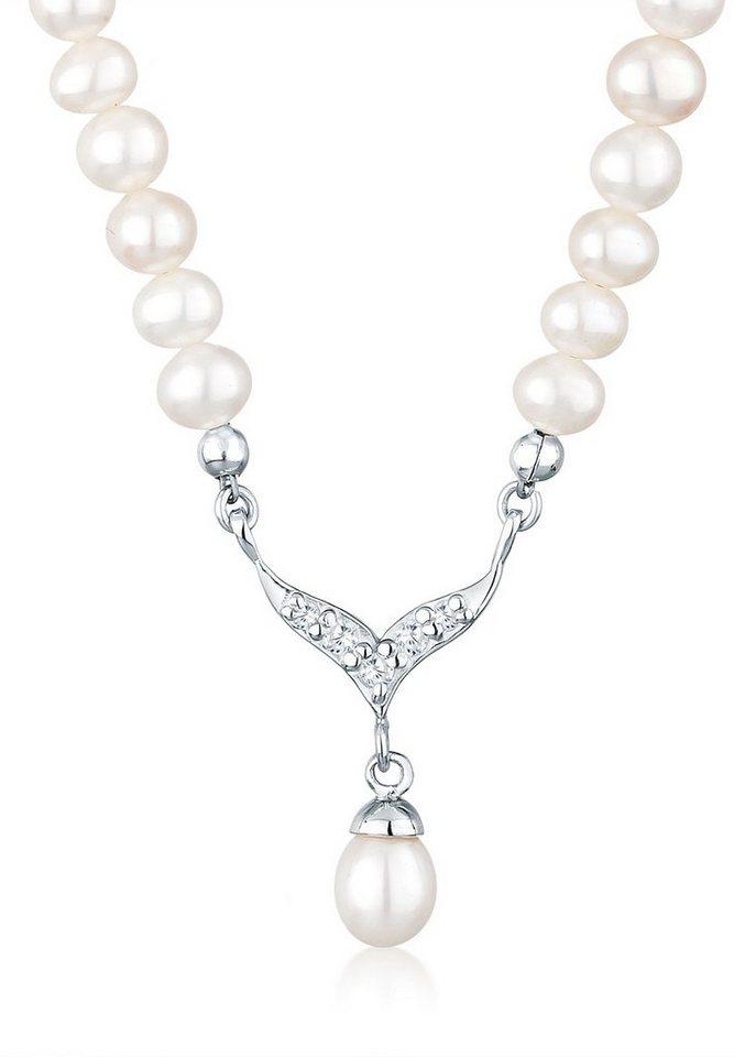 Perlu Halskette »Collier Süßwasserzuchtperle Zirkonia 925 Silber« in Weiß
