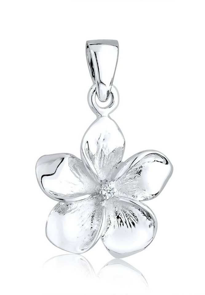 Diamore Anhänger »Frangipani Blume Diamant 925 Sterling Silber« in Weiß