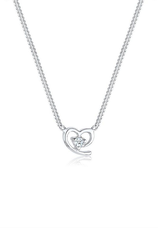 Diamore Halskette »Herz Amor Funkelnd Diamant 925 Sterling Silber« in Weiß