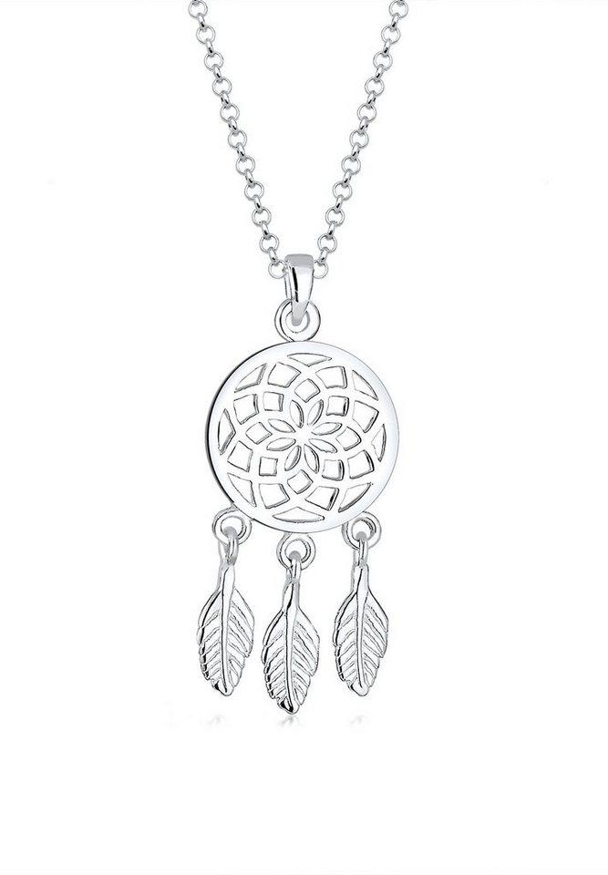 Elli Halskette »Traumfänger Feder Boho 925 Sterling Silber« in Silber