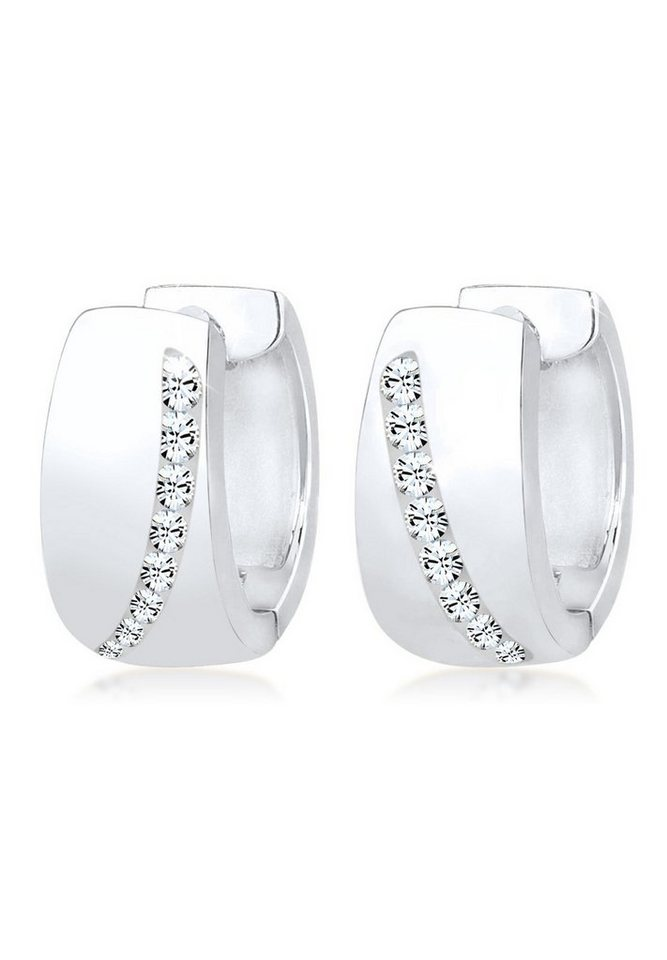 Elli Ohrringe »Creolen Swarovski® Kristalle Funkelnd 925 Silber« in Silber