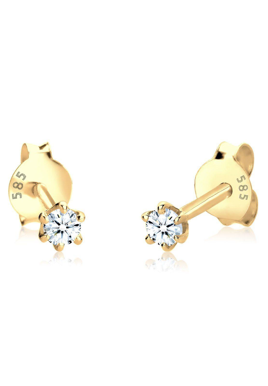 Diamore Ohrringe »585 Gelbgold Diamant Ohrstecker«