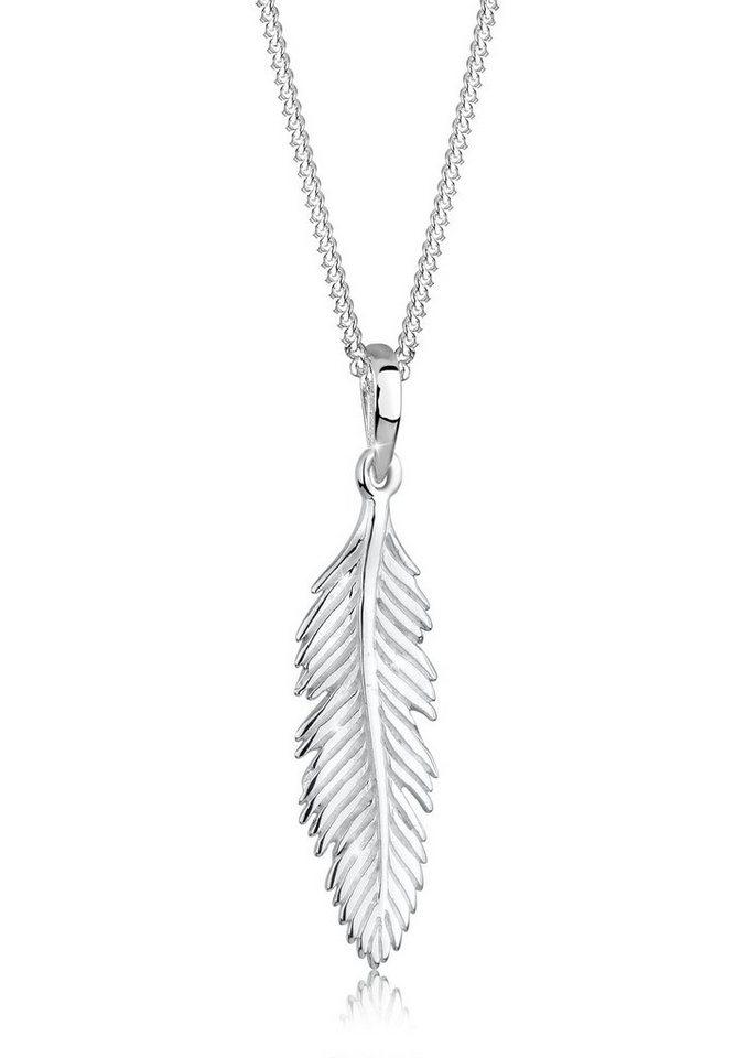 Elli Halskette »Feder Boho Gypsy Festival 925 Sterling Silber« in Silber