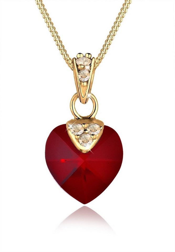 Goldhimmel Halskette »925 Sterling Silber Herz Swarovski Kristalle« in Dunkelrot