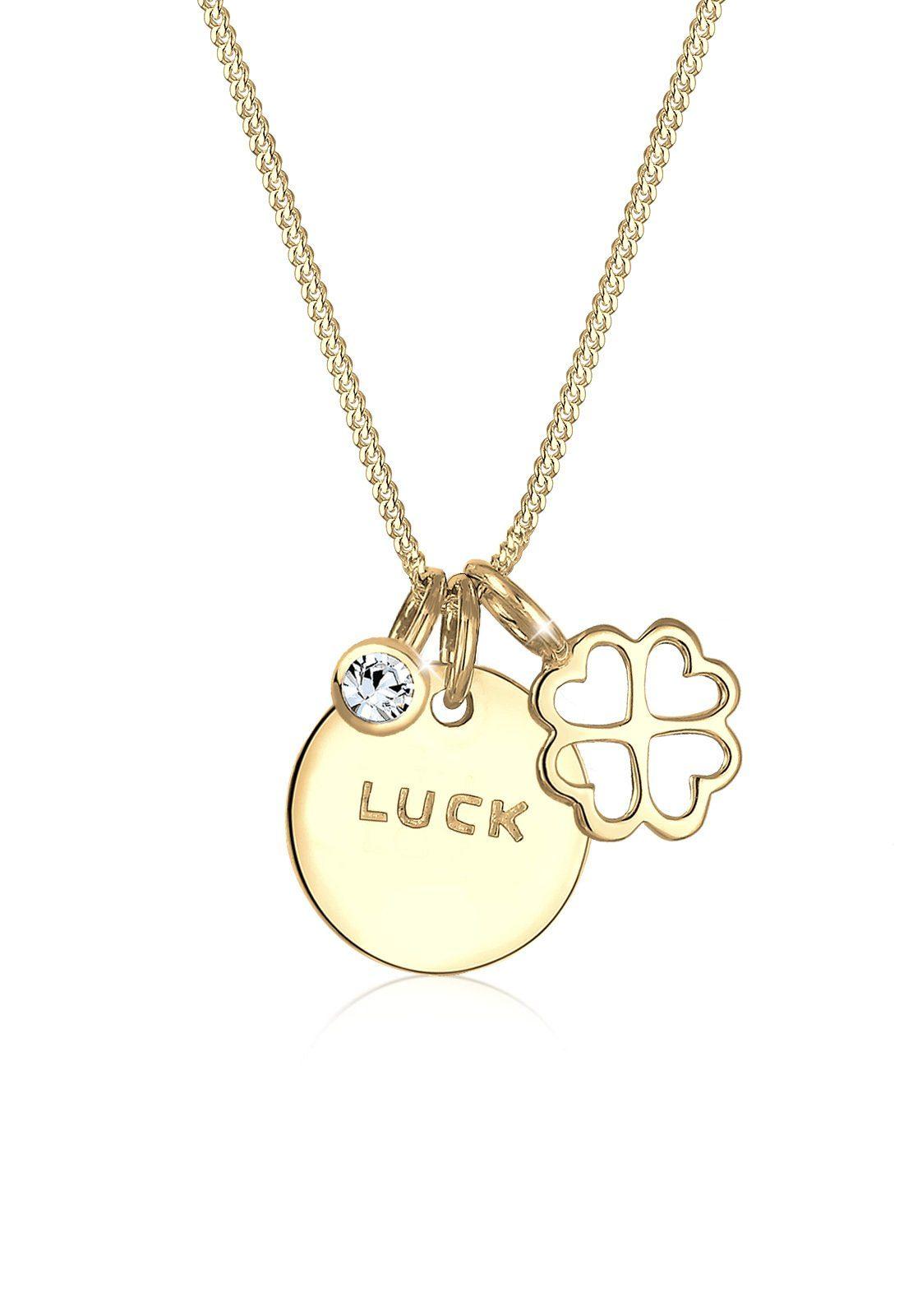 Elli Halskette »Kleeblatt Luck Swarovski® Kristalle 925 Silber«