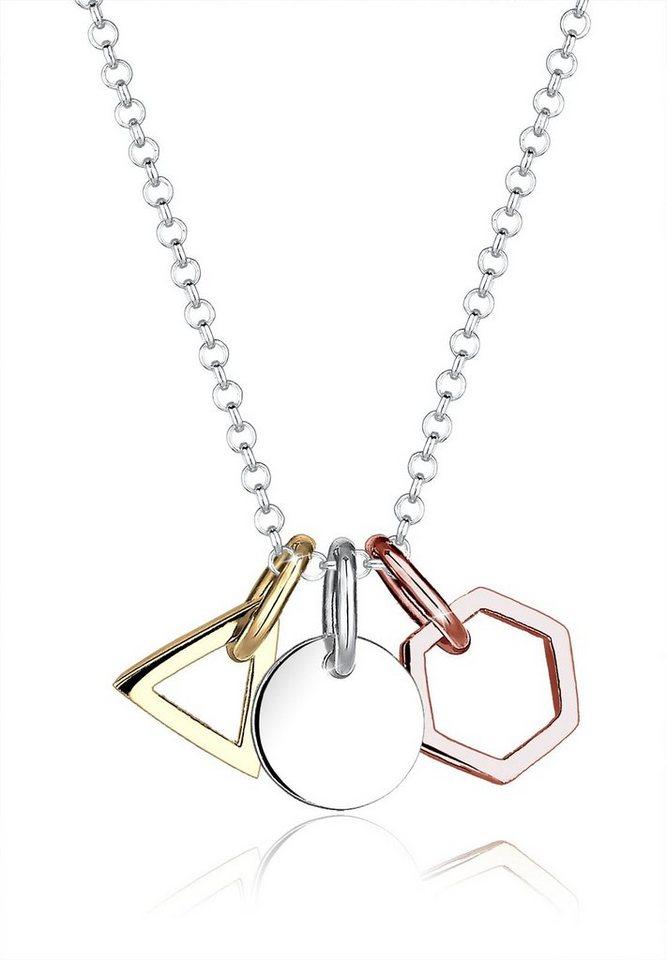 Elli Halskette »Geo Dreieck Hexagon Kreis Tricolor 925 Silber« in Silber