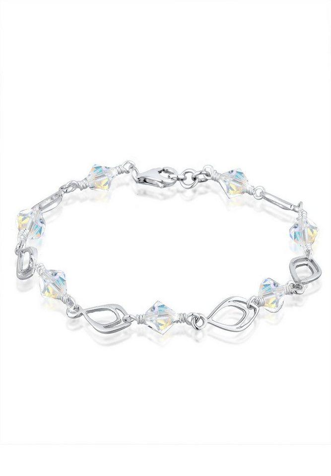 Elli Armband »925 Sterling Silber Federn Swarovski Kristalle« in Weiß