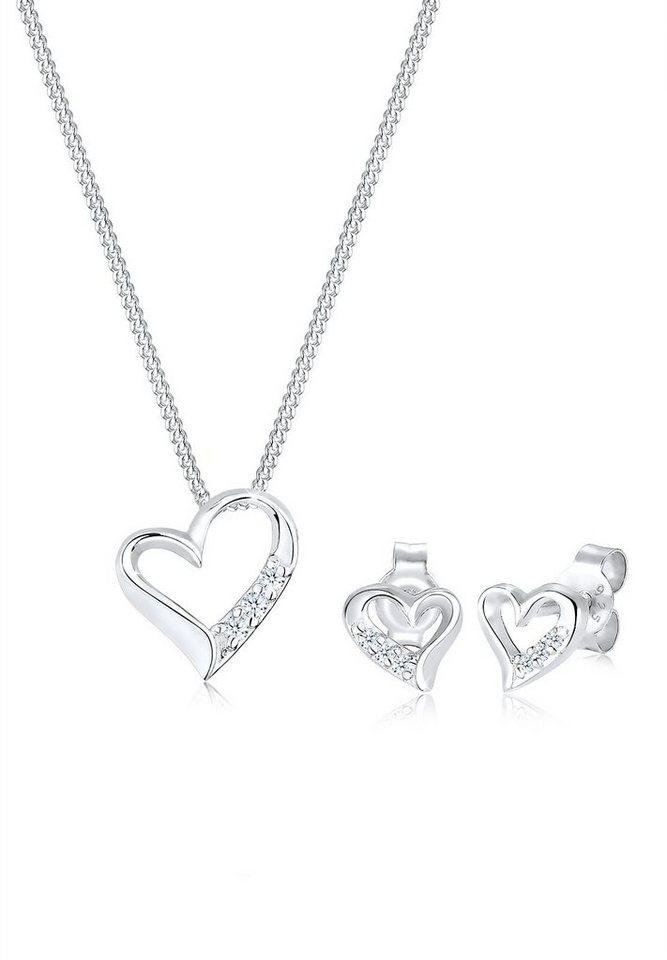 Diamore Set: Schmuckset »Herz Diamant 925 Sterling Silber« 2 tlg. in Silber