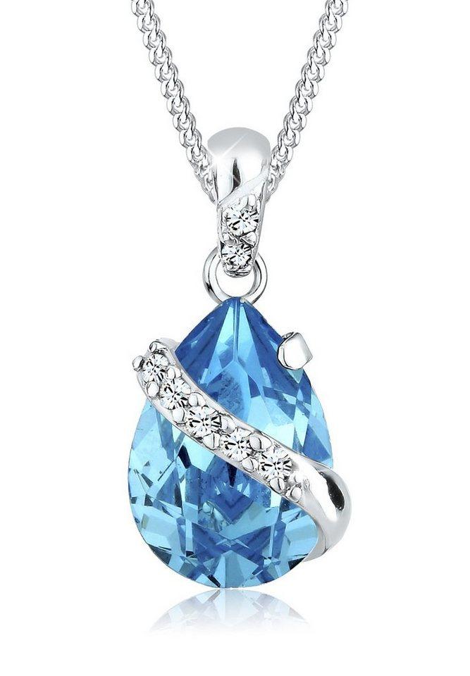 Elli Halskette »Tropfen Swarovski Kristalle 925 Sterling Silber« in Hellblau