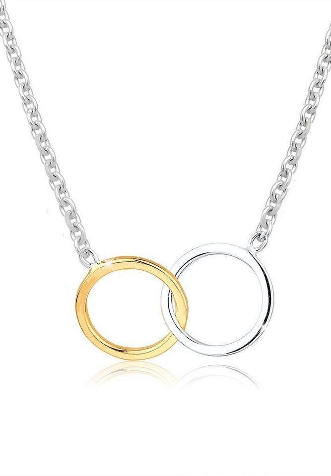 Elli Halskette »Kreise Einheit bicolor 925 Sterling Silber« in Silber