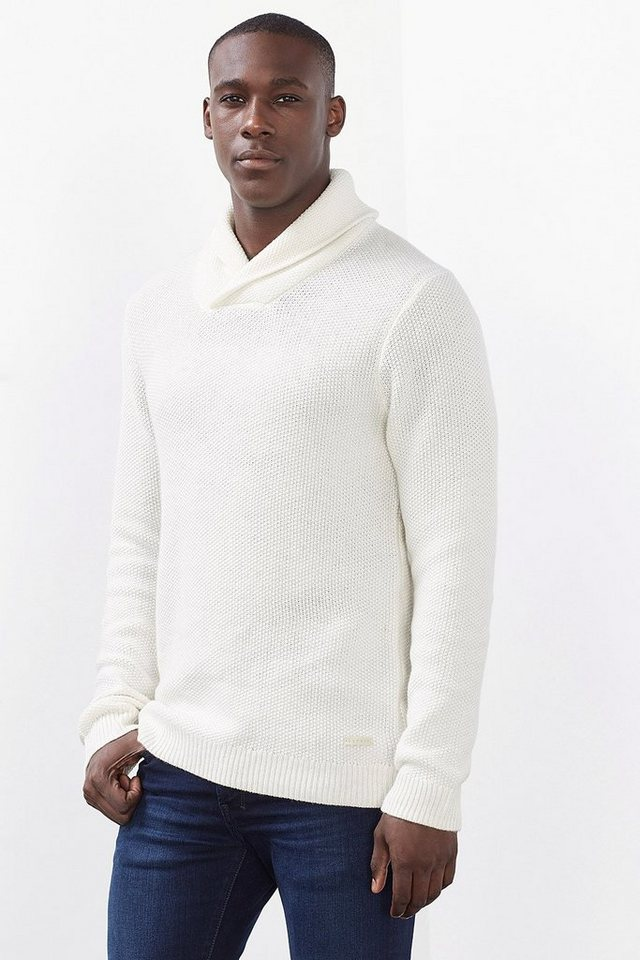 ESPRIT COLLECTION Woll-Mix Pullover aus Perlstrick in OFF WHITE