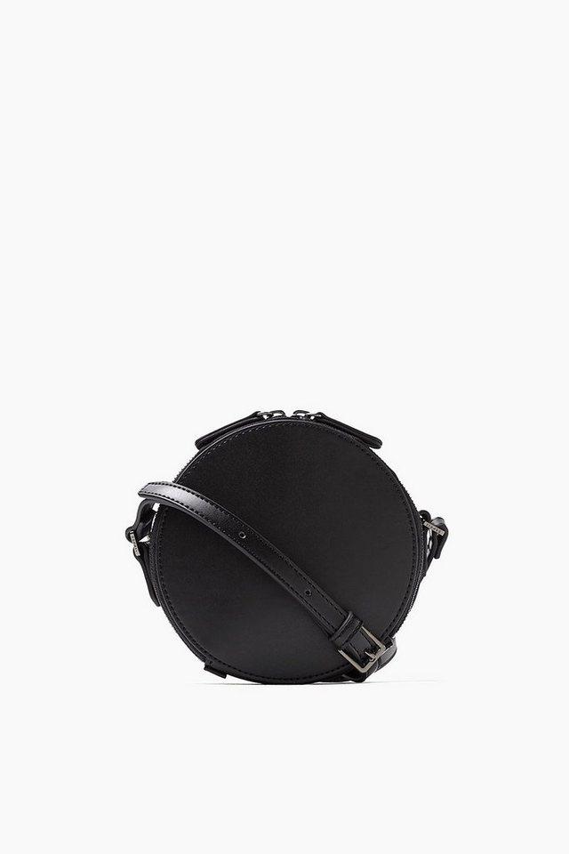 ESPRIT CASUAL Kleine runde Schultertasche in Lederoptik in BLACK