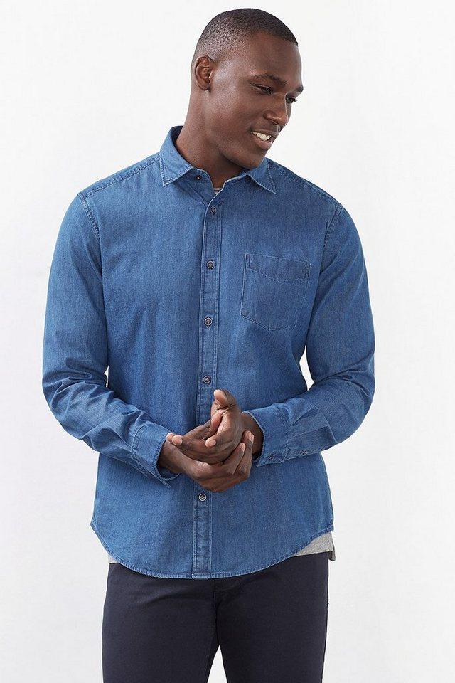 ESPRIT CASUAL Basic Denim Hemd, 100% Baumwolle in BLUE MEDIUM WASHED