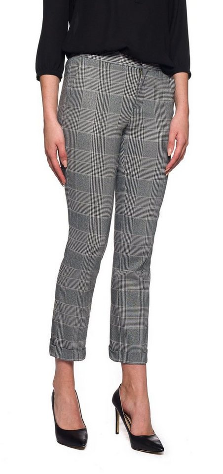 NYDJ Denise Slim Cuffed Ankle Pants in Houndstooth Plaid