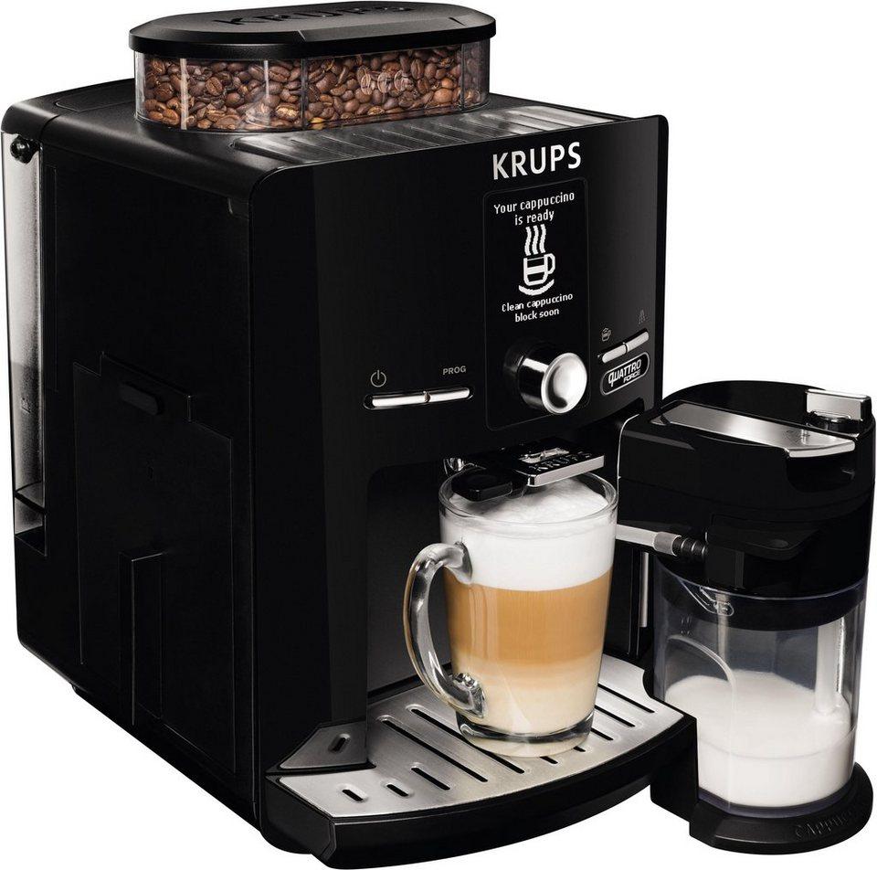 Krups Kaffeevollautomat EA82F8 Latt'Espress Quattro Force, One-Touch Funktion, Milchbehälter, 1,7 L in schwarz