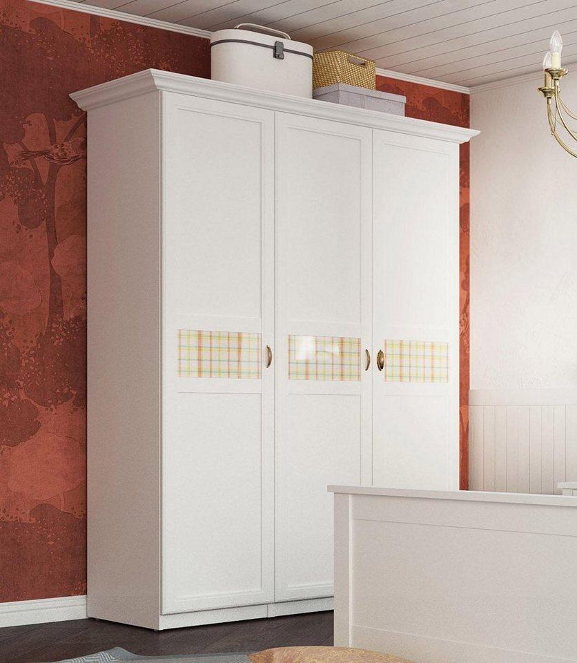 home affaire kleiderschrank sonya in 4 breiten mit dekorativen glaseins tzen in karomuster. Black Bedroom Furniture Sets. Home Design Ideas