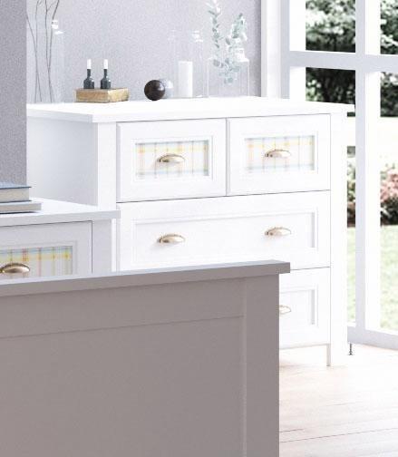 Home affaire Kommode »Sonya«, Breite 91, 5 cm, mit dekorativen Glaseinsätzen in Karomuster in weiß