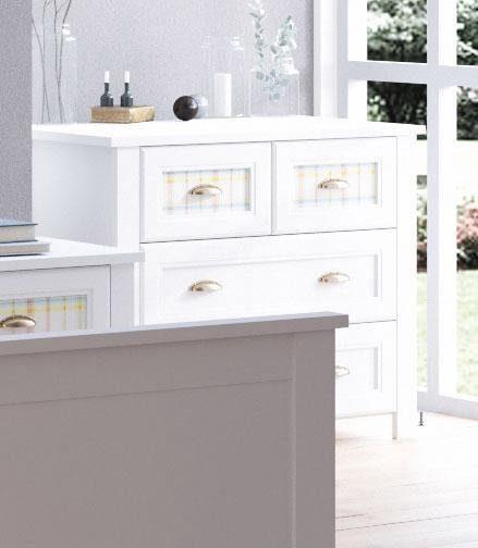 Home affaire Kommode »Sonya«, Breite 91, 5 cm, mit dekorativen Glaseinsätzen in Karomuster