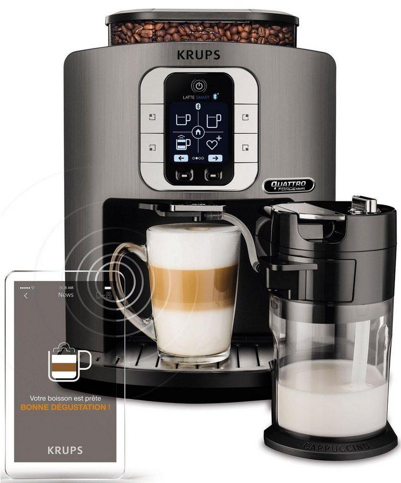 Krups Kaffeevollautomat EA860E One-Touch-Cappuccino Latte Smart, App gesteuert, Milchbehälter in titanium/schwarz