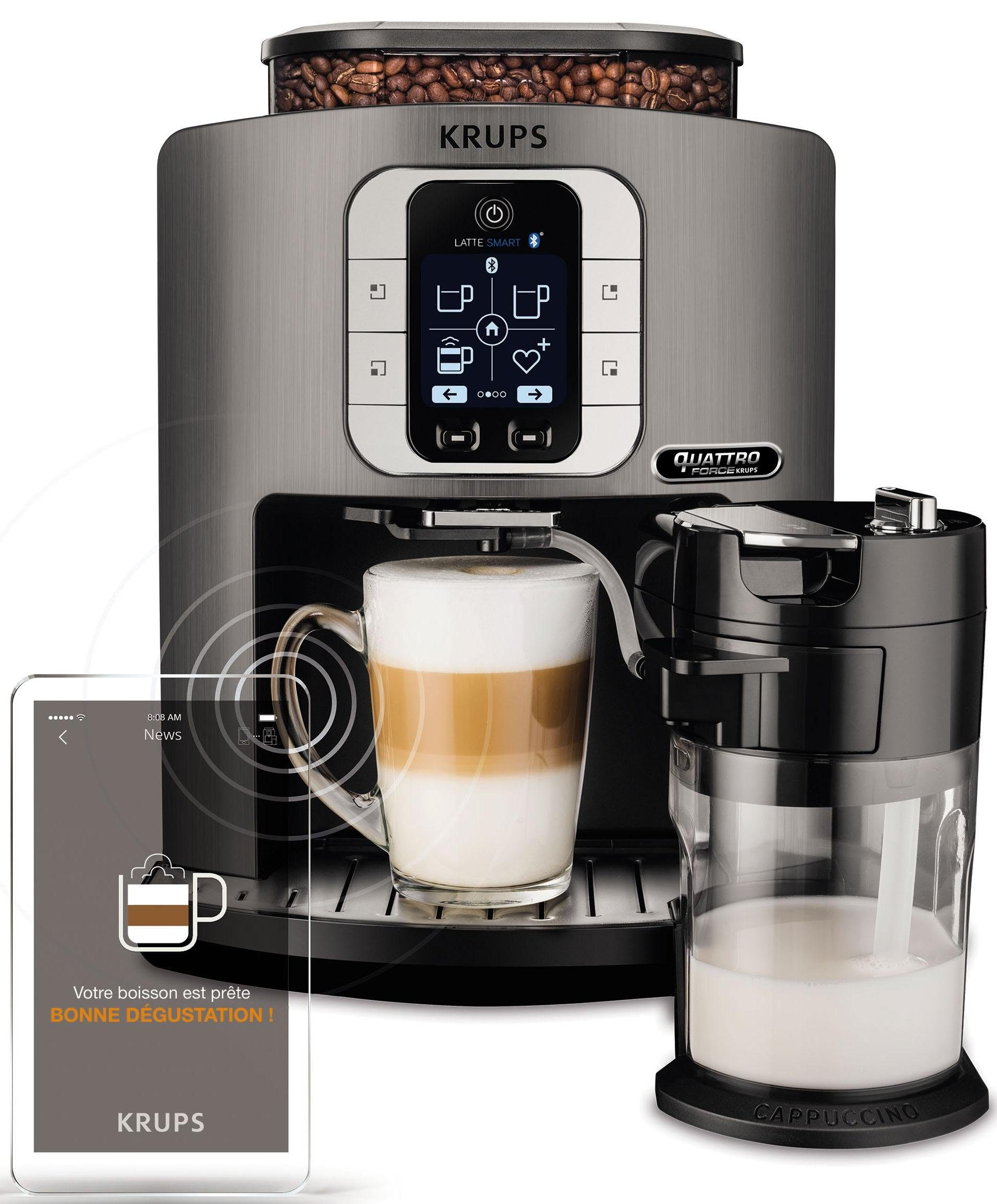 Krups Kaffeevollautomat EA860E Latte Smart, 1,8l Tank, Kegelmahlwerk, App-Steuerung