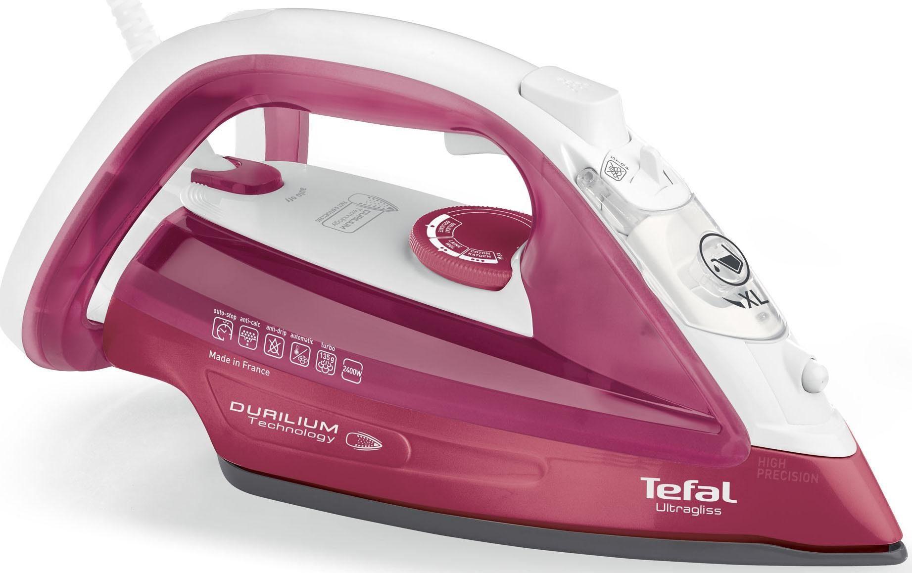 Tefal Dampfbügeleisen FV4920 Ultragliss, Antikalk-System, extra Dampfstoß 140 g/min, rot/weiß