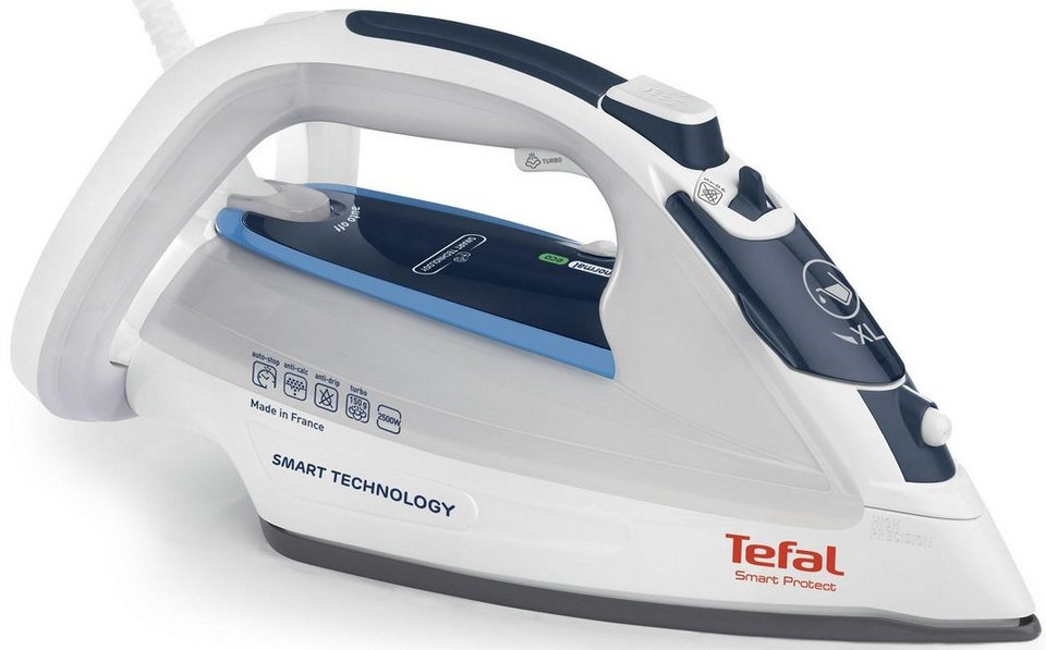 Tefal Dampfbügeleisen FV4970 Smart Protect, Antikalk-Kollektor, extra Dampfstoß 150 g/min in blau/weiß