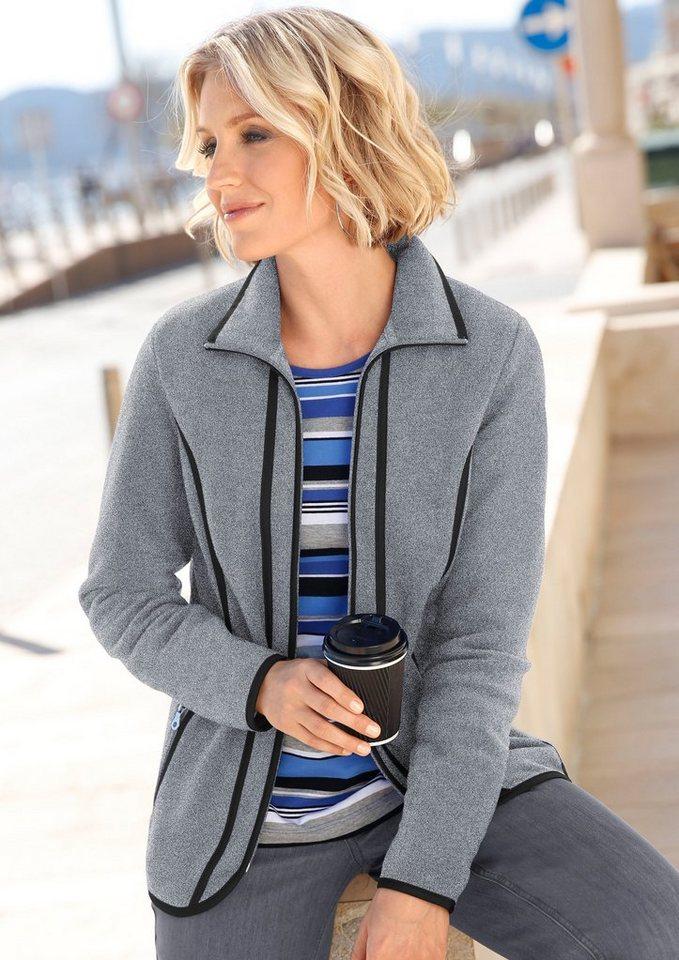Collection L. Fleece-Jacke mit Antipilling-Ausrüstung in grau-schwarz