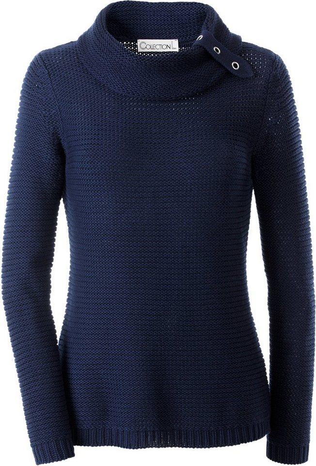 Collection L. Pullover Pullover mit Ösen und Zierriegel in marine