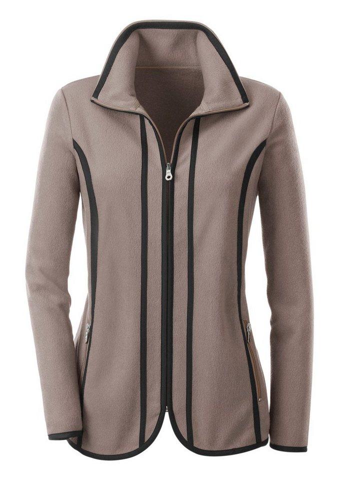 Collection L. Fleece-Jacke mit Antipilling-Ausrüstung in taupe-schwarz