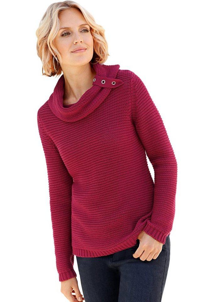 Collection L. Pullover Pullover mit Ösen und Zierriegel in dunkelrot