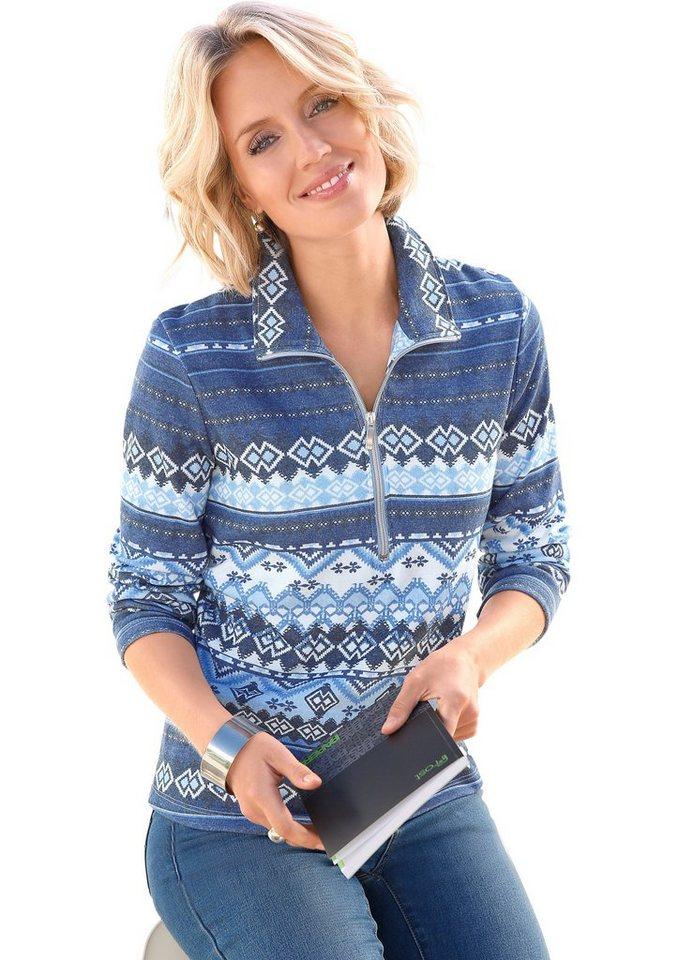 Collection L. Shirt im klassischen Norwegermuster-Druck in blau-bedruckt