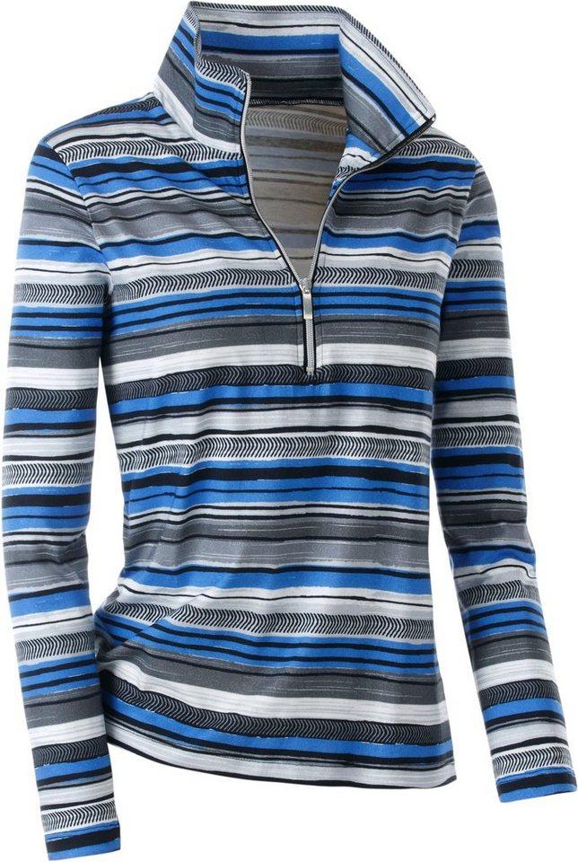 Collection L. Shirt mit sportivem Troyerkragen in royal-gestreift