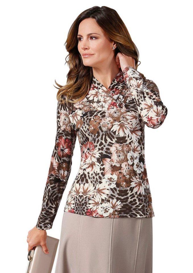 Lady Shirt mit floralem Druck in taupe-bedruckt