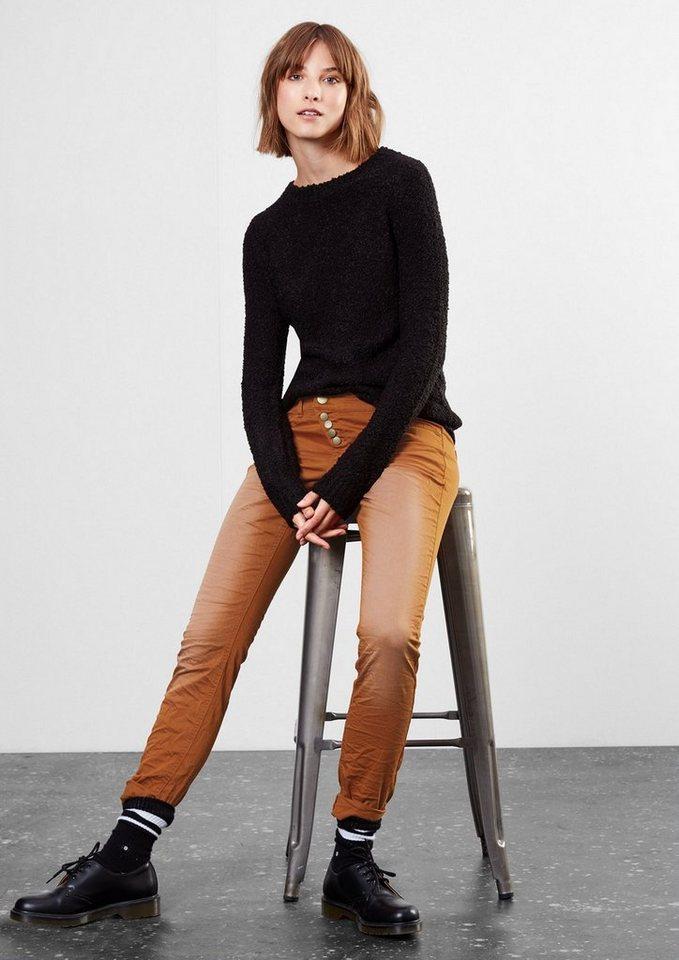 Q/S designed by Slim: Satinhose mit Effekt-Färbung in dark copper