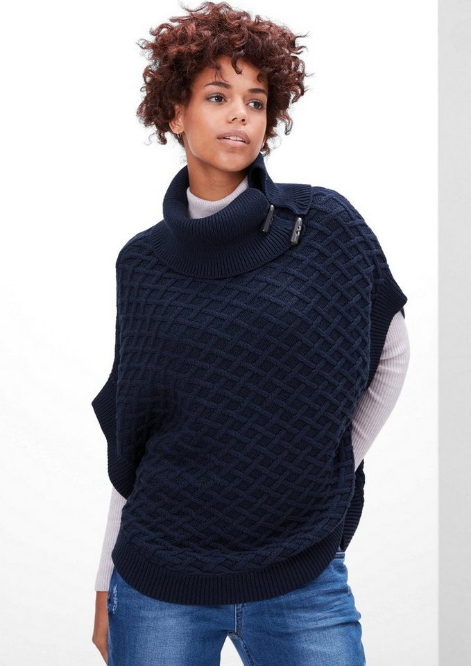s.Oliver RED LABEL Strickponcho mit Flechtmuster in navy