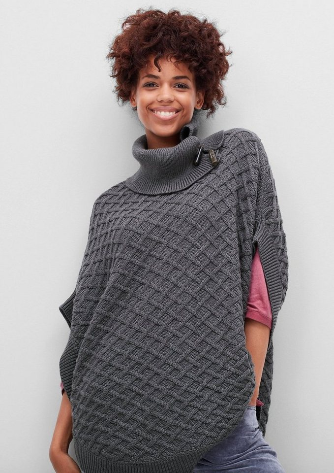 s.Oliver RED LABEL Strickponcho mit Flechtmuster in pewter grey melange