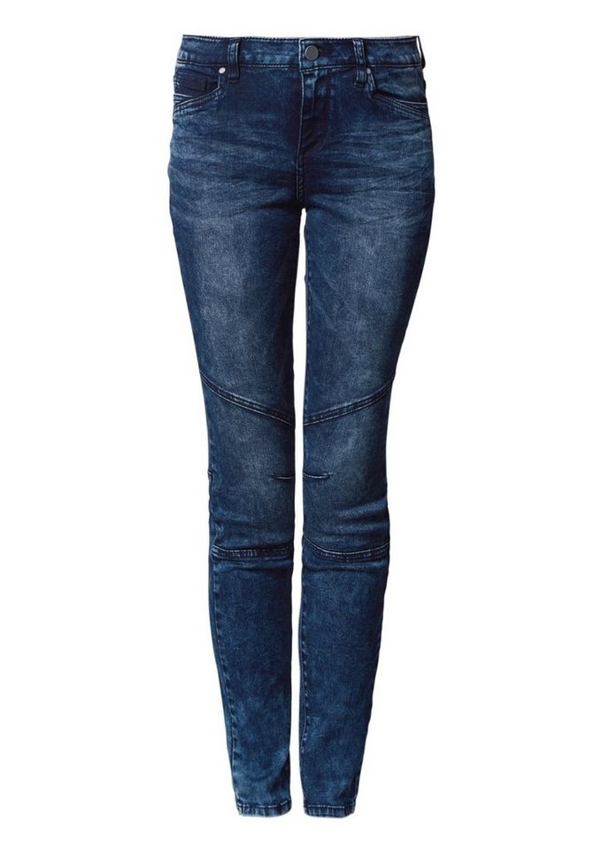 Q/S designed by Superslim: Tinted Stretch-Jeans in blue denim, tinted