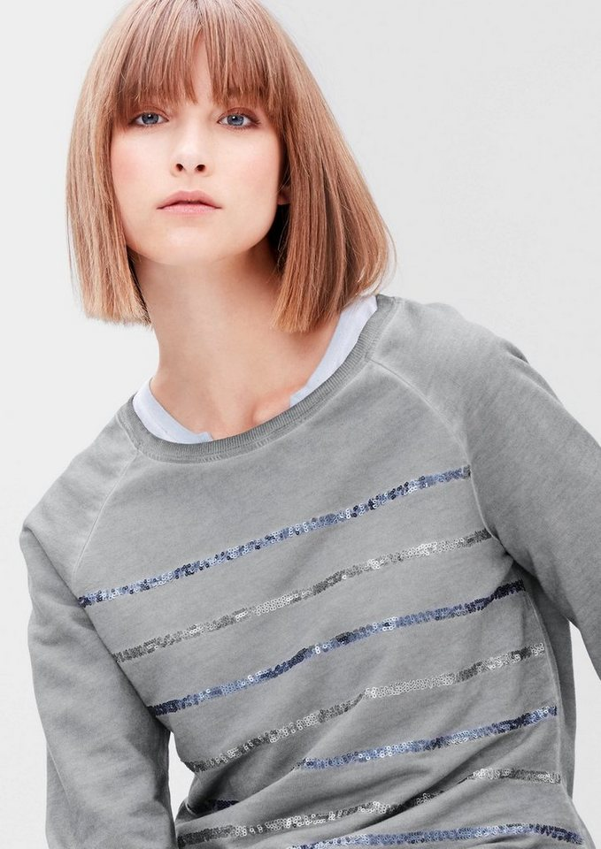 s.Oliver RED LABEL Sweatshirt in Cold Pigment Dye in grey melange placed