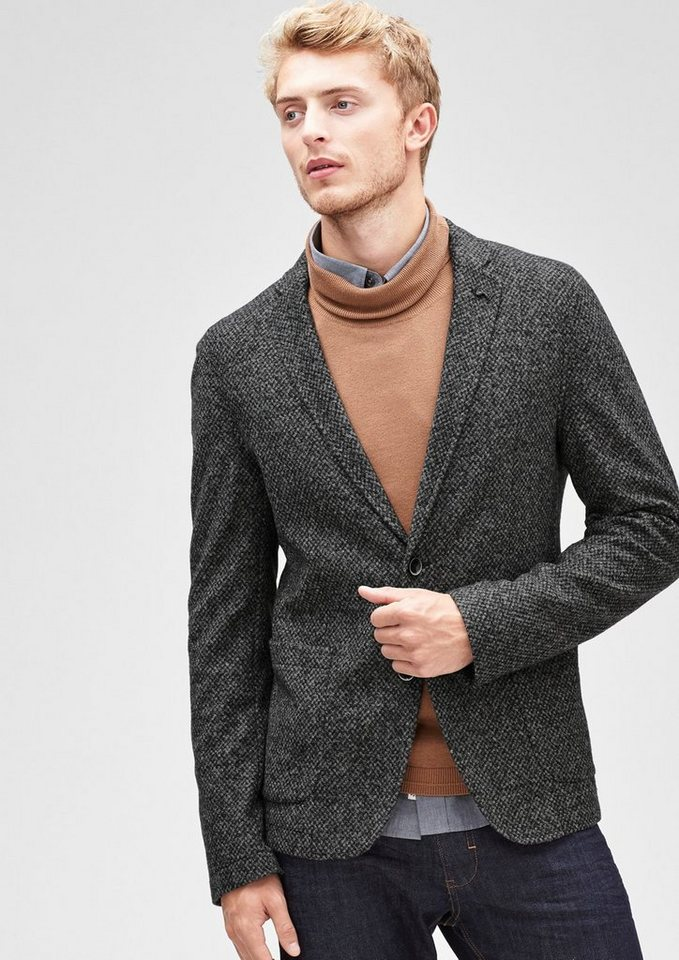 s.Oliver BLACK LABEL Einzelsakko aus melierter Wolle in graphit tweed