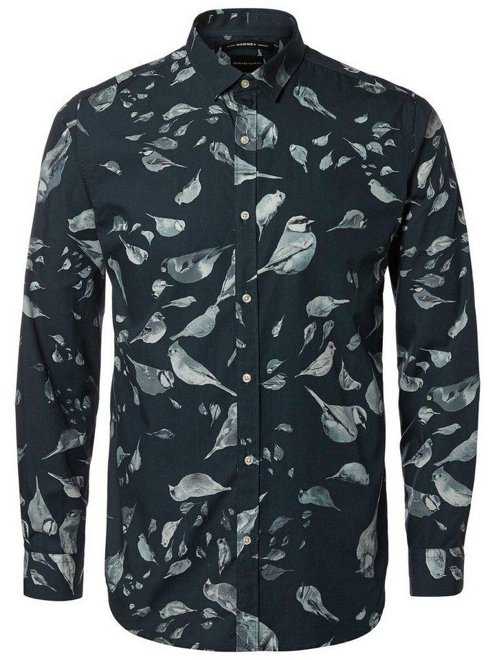 Selected Bedrucktes Langarmhemd in Black