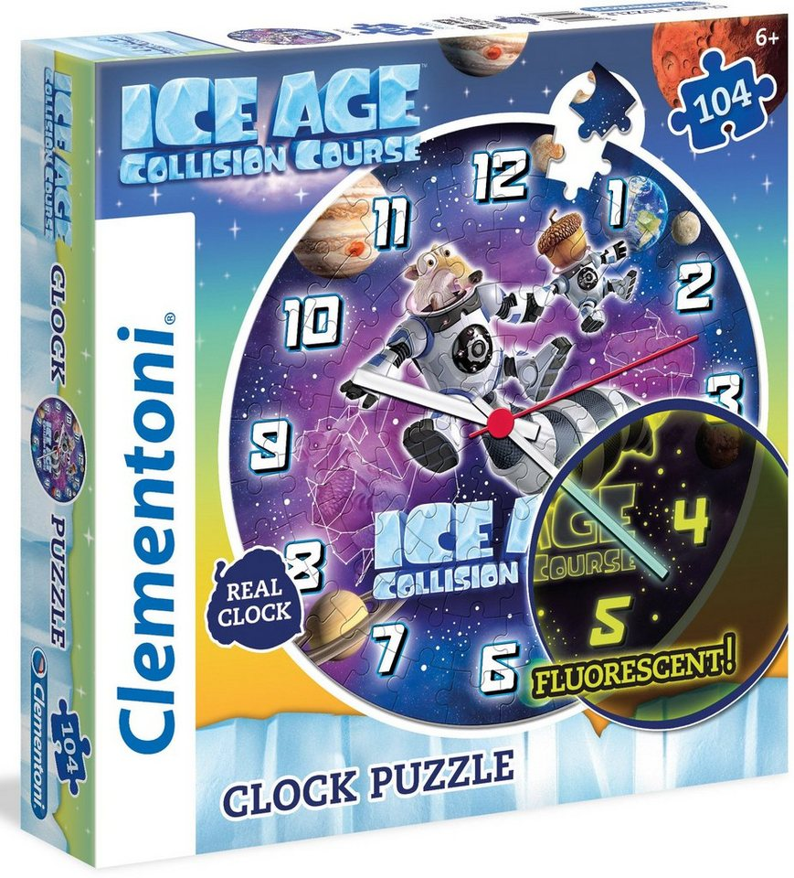 Clementoni Fluoreszierende Puzzleuhr, 96 Teile, »Ice Age Collision Course«