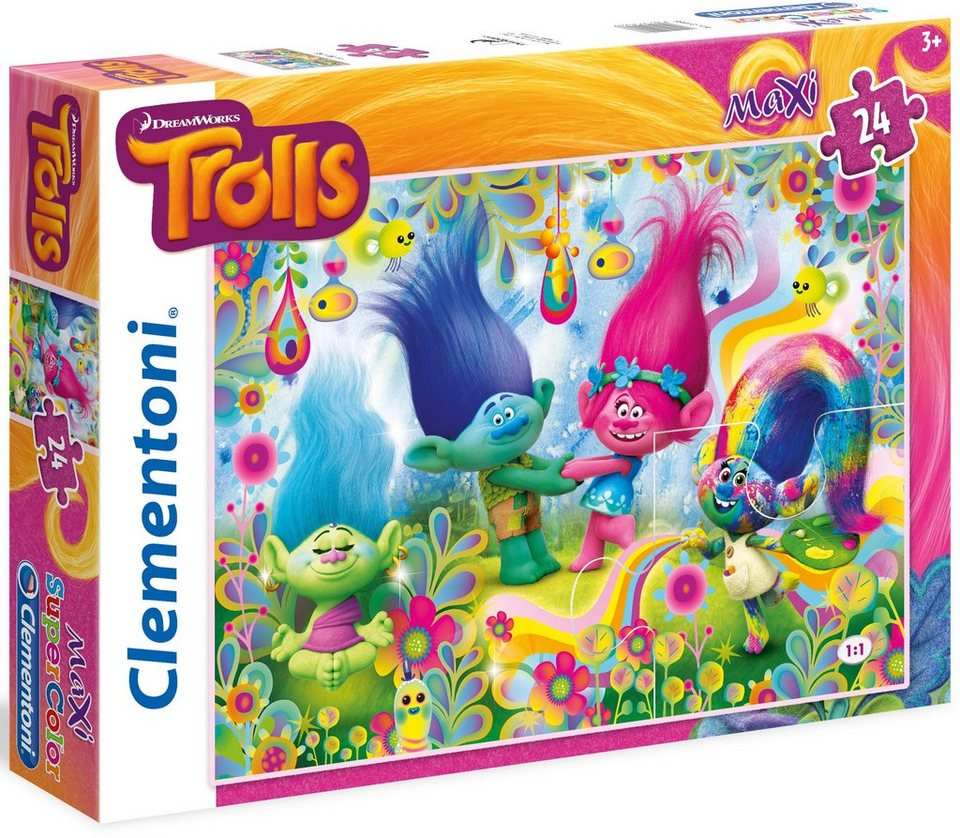 Clementoni Maxi Puzzle, 24 Teile, »DreamWorks Trolls Cupcake and Rainbows«