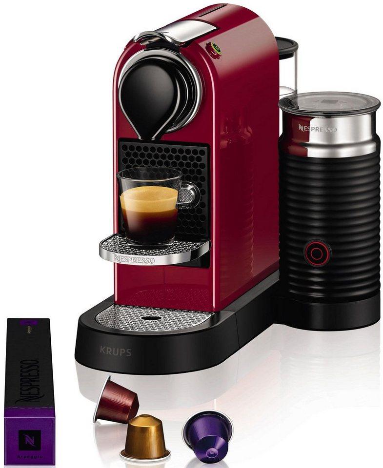 Krups NESPRESSO Kapselmaschine »XN7605 CitiZ&milk«, mit Aeroccino, Thermoblock-Heizsystem, 19 bar in cherry red