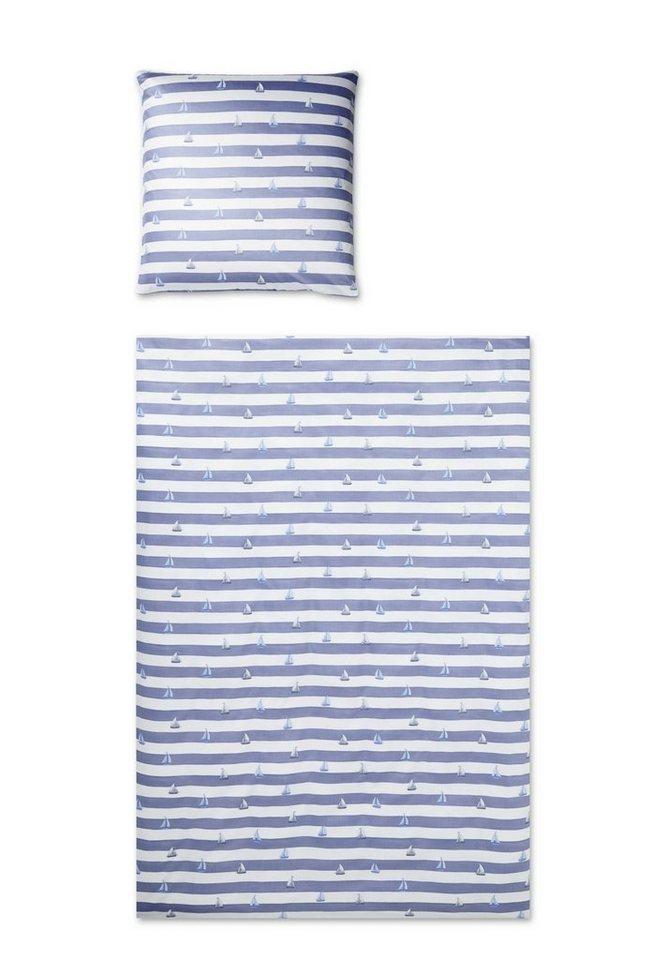 Bettwäsche, Elegante, »Portlane«, mit Segelboot-Motiven in hellblau