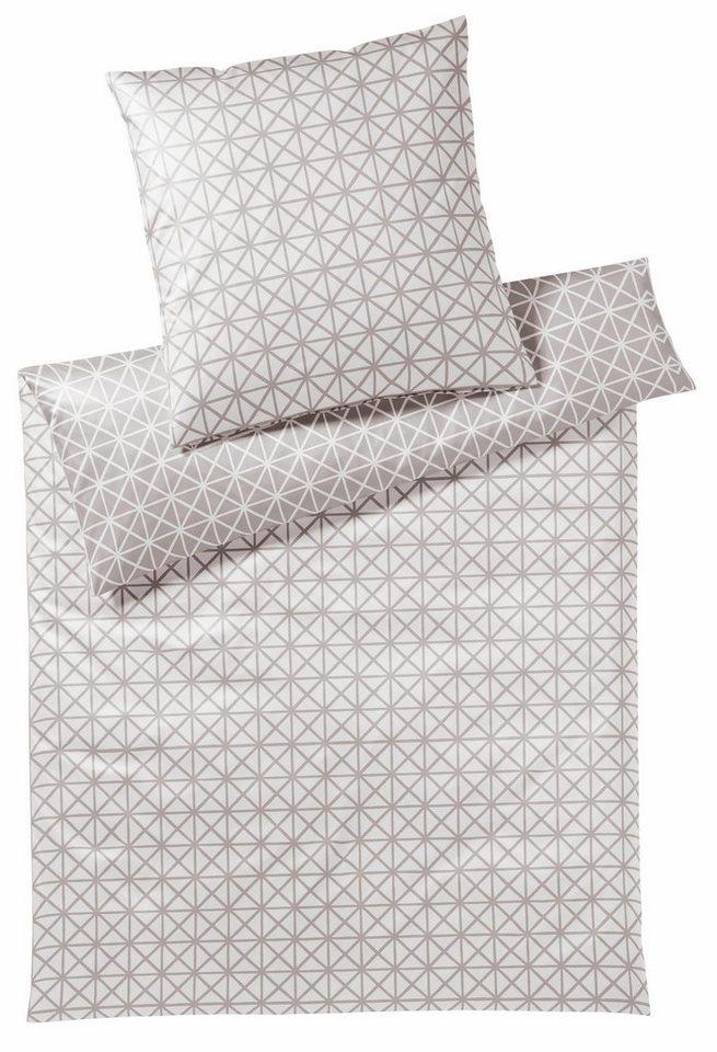 Bettwäsche, Elegante, »Grafic«, mit grafischen Dreiecken in silberfarben