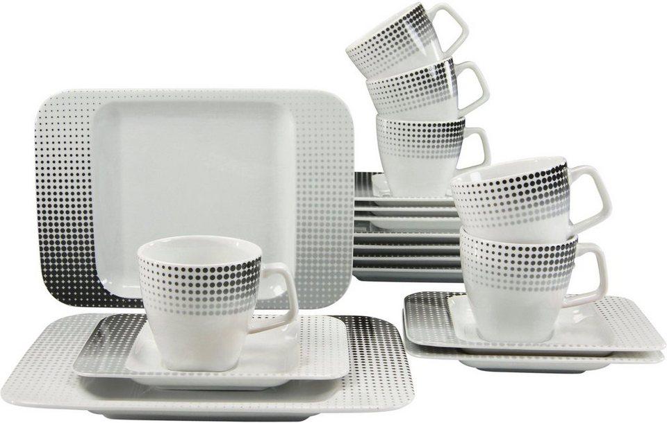 CreaTable Kaffeeservice, Porzellan, »Smart« (18tlg.) in schwarz/weiß